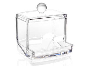 Acrylic Makeup Box with Lid Extended Bottom for Cottons Swabs