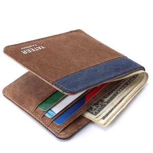 Canvas Wallet men Simple Casual Style short men wallet purse small clutch male wallet