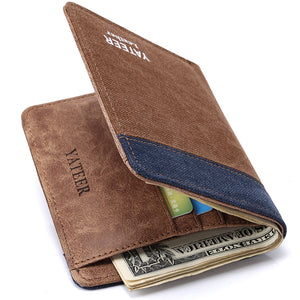 Canvas Wallet Men Simple Casual Style Short Men Wallet