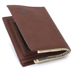 Men Wallets Vintage Wallet Zip Coin Pocket Purse PU Leather Brown Wallet For Mens