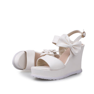 Ladies Bow Sandals Wedges Platform Sandals