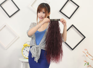 Wine Red Bushed Out Perm Clip-in Hair Extension