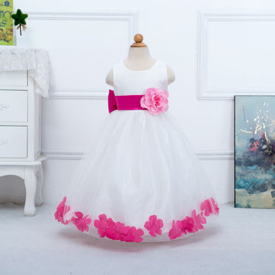Elegant Flower Dress Petal with Bowknot For Wedding