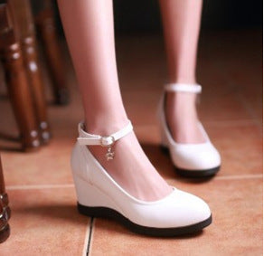 New Hot Fashion Wedge Platform Pumps Ankle Strap Rear Closure