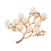 Synthetic Pearl Tree Design Rhinestone Women Brooches and Pins