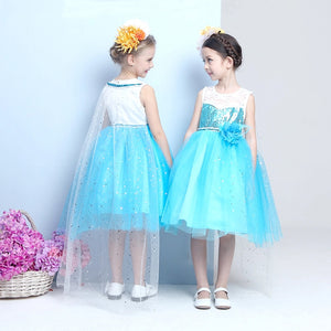 Sequined Blue Lace Detailed Mesh Dress for Girl
