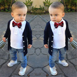 Baby boys Spring and Autumn Cotton T-shirt Cardigan Jeans 3pcs Suits