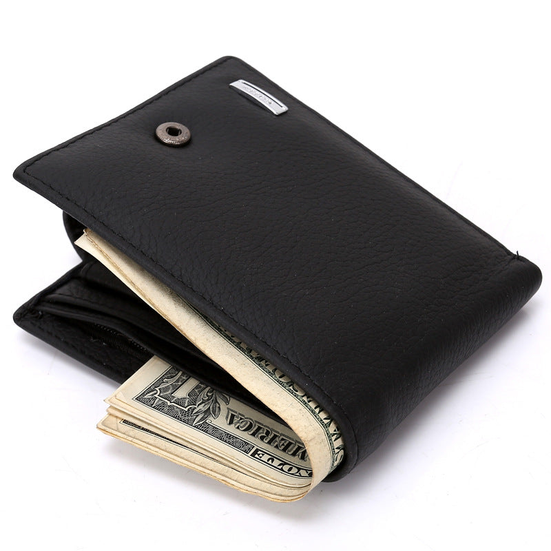 Leather Men Wallet Fashion Coin Pocket Men Leather Short Wallet