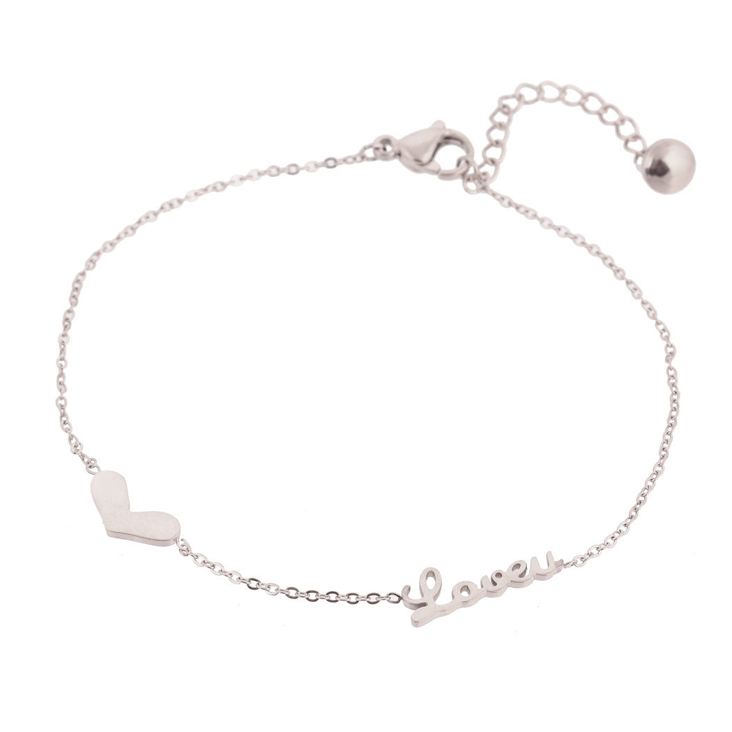 Adjustable LOVE Script Titanium Steel Bracelet