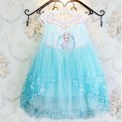 Lace Elsa Dress Girl Halloween Costume Party
