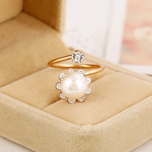Woman Fashion Party Rings Plating KC gold Minimalist Style Five-pointed Star Imitation Pearl Ring for Women Jewelry