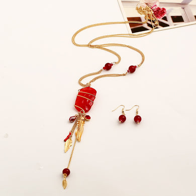 Womens Fashion Retro Tassel Leaf Crystal Pendant Chain Yiwu Accessories
