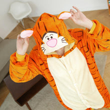 Winter Flannel Pajamas Cartoon Animal Jumpsuits Tiger Costume for Women