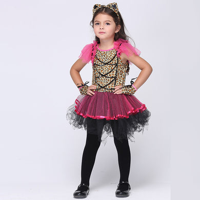 Anime Cosplay Dress 2017 Halloween Costume For Kids Leopard Animal Clothes Girls Stage Party Fancy Fantasias Infantis