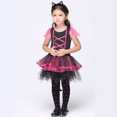 Anime Cosplay Dress	With Tail Headband 2 Piece Girl Baby Infantil Party Prom Halloween Costumes Animal Cosplay Clothes