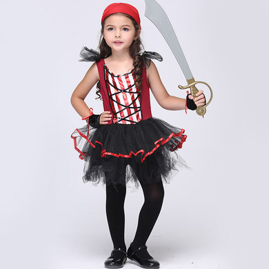 High quality girls pirate cosplay costume Christmas Halloween party dress for children kids clothes