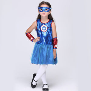 Supergirl Halloween Cosplay Costume For Kids Girls Superhero Dresses Christmas Carnival Party Fancy Anime Clothes