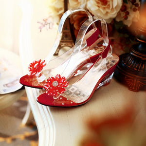 Bohemian Transparent Crystal Rhinestone Flower Peep Toe Sandals