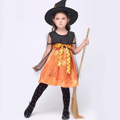 Witch Cosplay Costumes For Kids Children Girls Christmas Halloween Carnival Party Fancy Anime Cosplay Dress With Hat