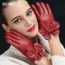 Sheepskin Leather Gloves Bowtie Detail Cuff (1 pair)