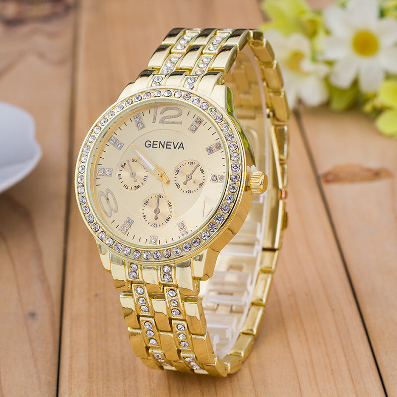 Rhinestone Gemstone Round Plate Analog Quartz Watch for Men