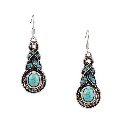 Turquoise Pendants Alloy Hook Earrings