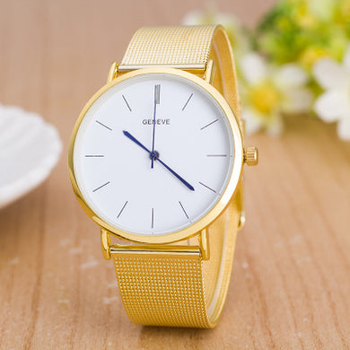White Plate Metal Band Business Analog Quartz Watch