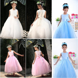 Candy Color Princess Dress  Bowknot Belt Maxi Dress for Girl