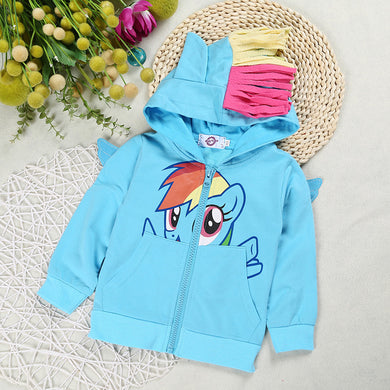 Pony Pattern Baby Girls' Outerwear Cute Cartoon Zip Up Coat