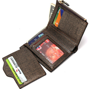 Men Wallets PU Leather Wallet Purse Coin Pocket Photo Short Wallets Casual Leather Wallet