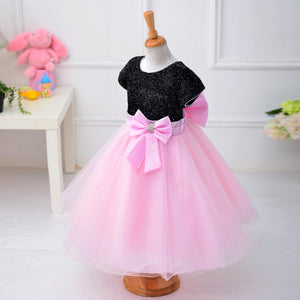 Color Blocks Sequined Bow Belt Bubble Dress for Girl