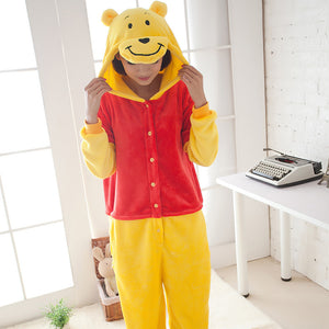 Flannel Cartoon Yellow Bear One Piece Home Wearing Pajama Costumes