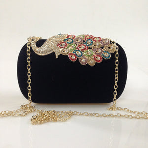 Peacock Rhinestone Velvet Chain Bags Ladies Clutch