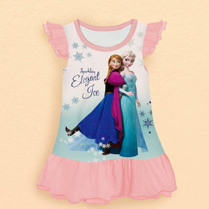 FROZEN Pattern Printed Cute Nightie Dress