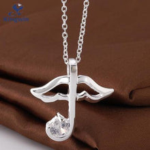 Music Note Umbrella Pendant Zircon Gemstone Necklace for Women
