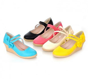 Candy Color Bow Wedges Platform Pumps
