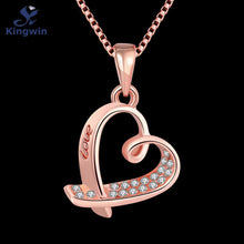 LOVE Carved 3D Heart Shape Gold Plated Zircon Pendant Necklace