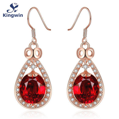 Gold Plated Artificial Gemstone Earrings with Hooks for Women (1 pair)