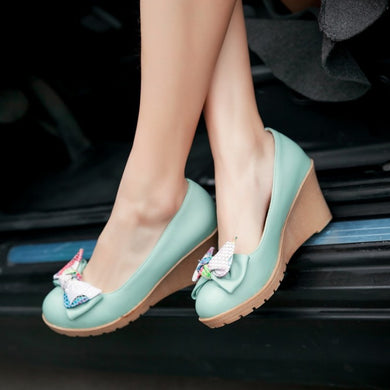 Colorful Mini Bow Detailed Wedge Platform Pumps