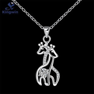 His and Her Silver Giraffe Necklace Pendant Zircon Gemstone Pendant (pendant ONLY)