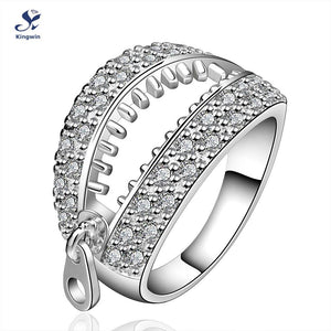 Fashion Cool Novel Rings Zip Opened Shape Silver Rings