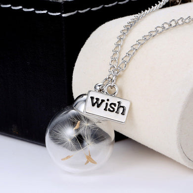 Glass Bottle Wish Dandelion Seed Pendant Necklaces Jewelry Botanical Pendants with Long Chain Jewelry