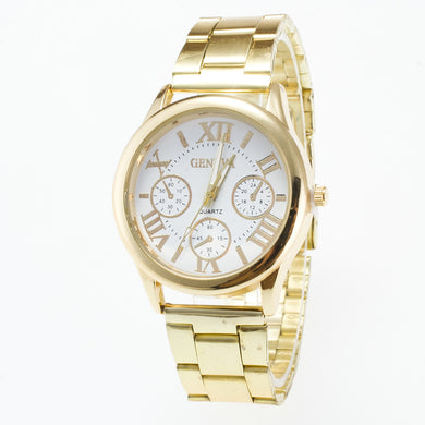 Roman Numeral Golden Color Steel Band Analog Quartz Watch