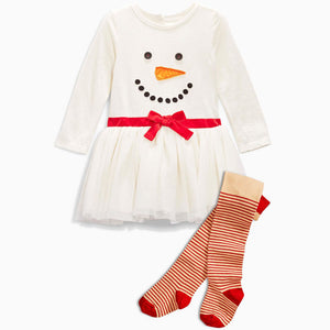 White Snowman Designed One Piece Dress for Girls