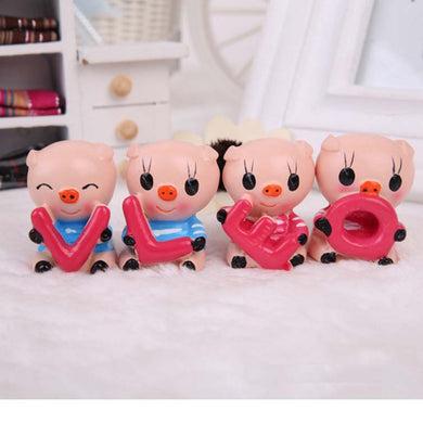 4pcs/lot Small Resin Pigs Gifts Love Cartoon Resin Doll Crafts Creative Pigs Set Home Decoration