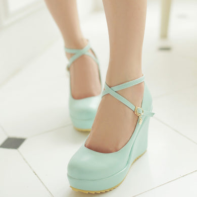 Women's New Candy Color  Fashion Wedge Platform Pumps Sexy Heels