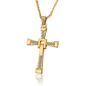 Metal Shining Cross Pendant Zircon Detail Necklace