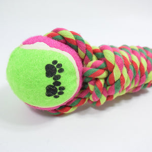 Candy Rope Tennis Tooth Cleaning Cotton Rope Interactive Pet Toy
