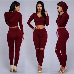 Women's Wear Spring And Summer Leisure Hooded Long-Sleeved Blouse And Trousers For Women In A Two-Piece Jumpsuit