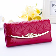 European And American Style Long Wallet Women's Lacquered Bright Leather Chain Pearl Buckle Purse